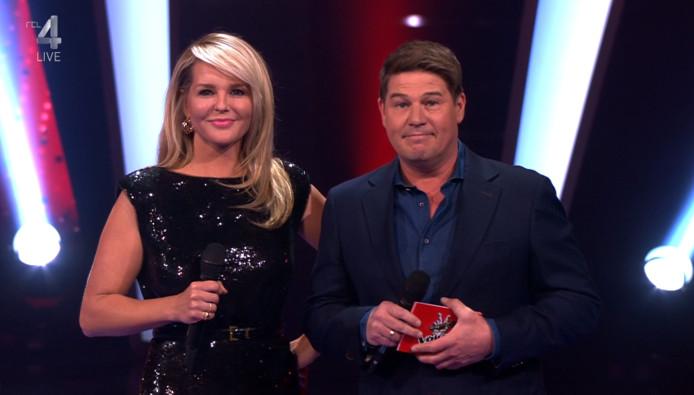 Chantal Janzen en Martijn Krabbé in The Voice of Holland.