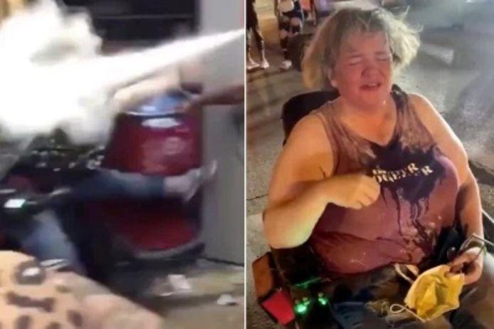 Des manifestants contre la mort de George Floyd attaquent une femme en fauteuil roulant.