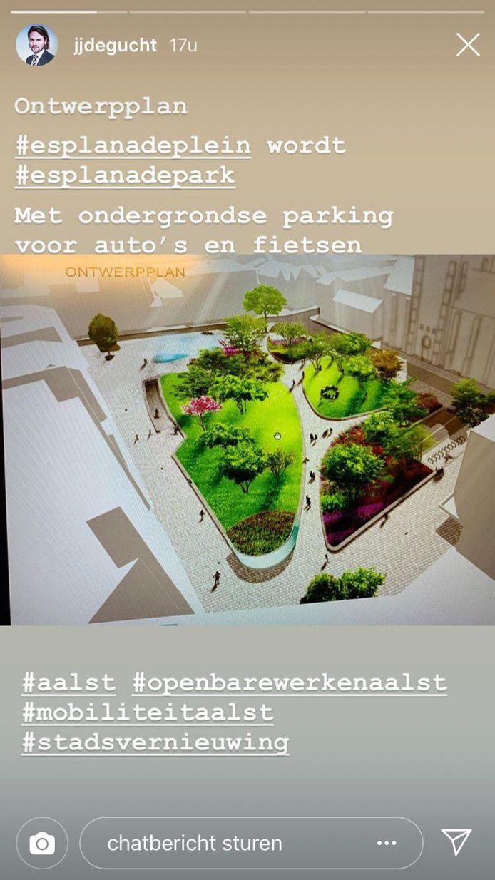 Schepen De Gucht deelde het nieuwe ontwerp op Instagram.