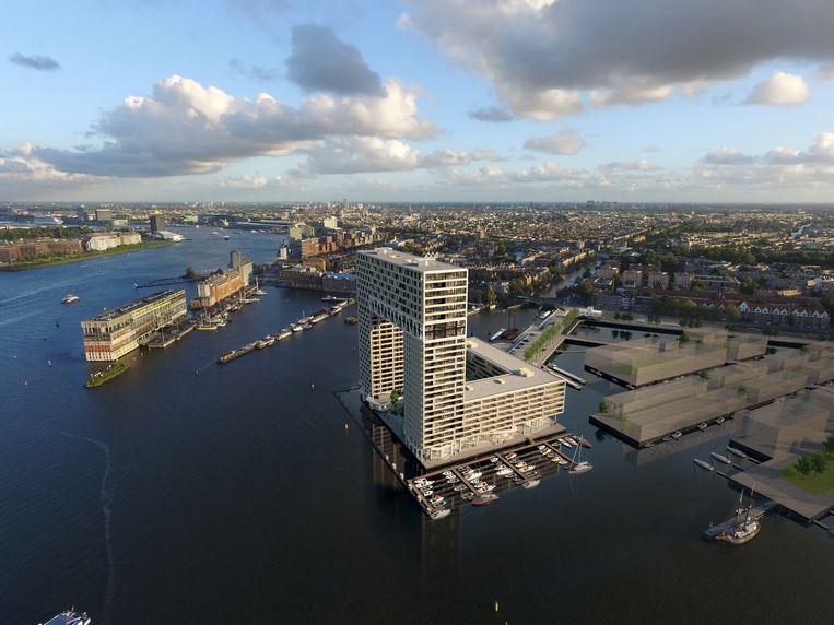 Het te verrijzen complex waarin het duurste appartement van Nederland komt. Beeld