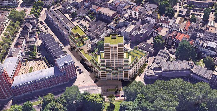 Het plan voor nieuwbouw op de hoek van de Valkenstraat en de John F. Kennedylaan in Breda.