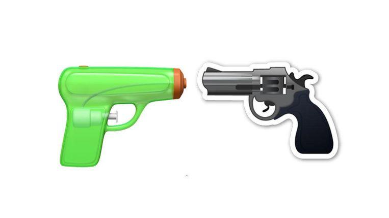 Het waterpistool van Apple en het Android-revolver. Beeld null