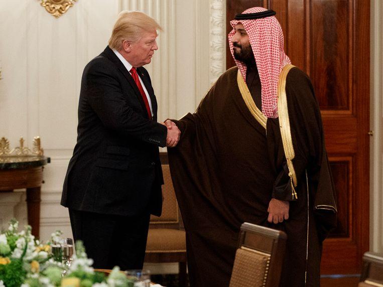 President Trump en de Saoedische defensieminister-kroonprins Mohammed bin Salman tijdens een ontmoeting in het Witte Huis in maart.