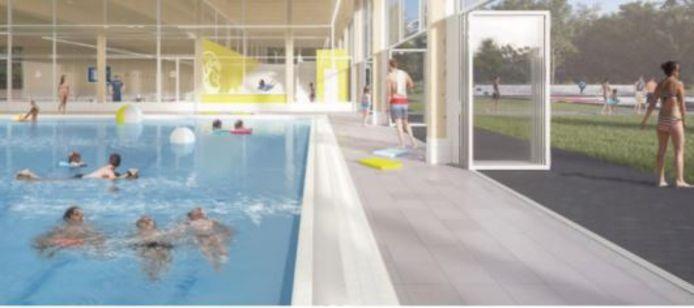 In het plan voor vernieuwing van het binnenbad van de Sypel wordt uitgegaan van de combinatie binnen en buiten.
