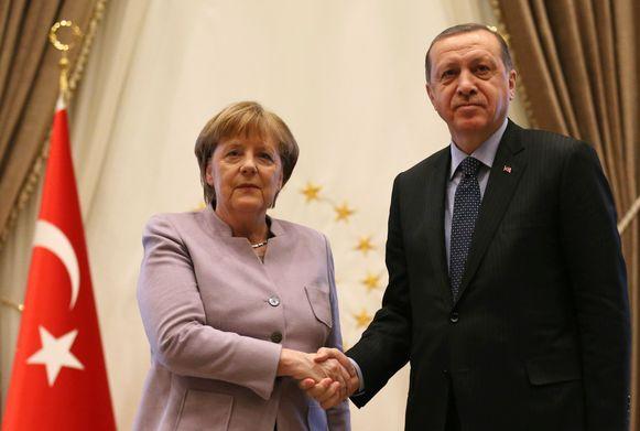 Merkel en Erdogan tijdens Merkels bezoek aan Ankara op 2 februari.