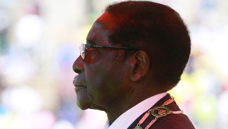 Robert Mugabe, afgelopen week tijdens een ceremonie ter gelegenheid van Defence Forces Day. Beeld ap