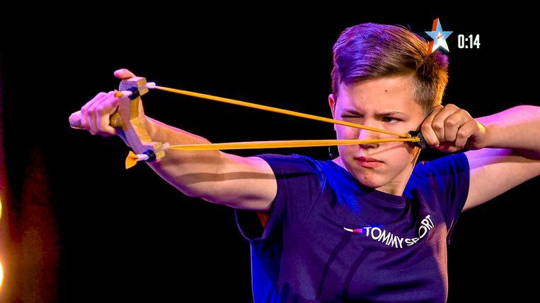 Taylor Plysier in actie tijdens Belgium's Got Talent.