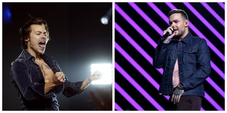 Liam Payne (rechts) feliciteert Harry Styles (links)