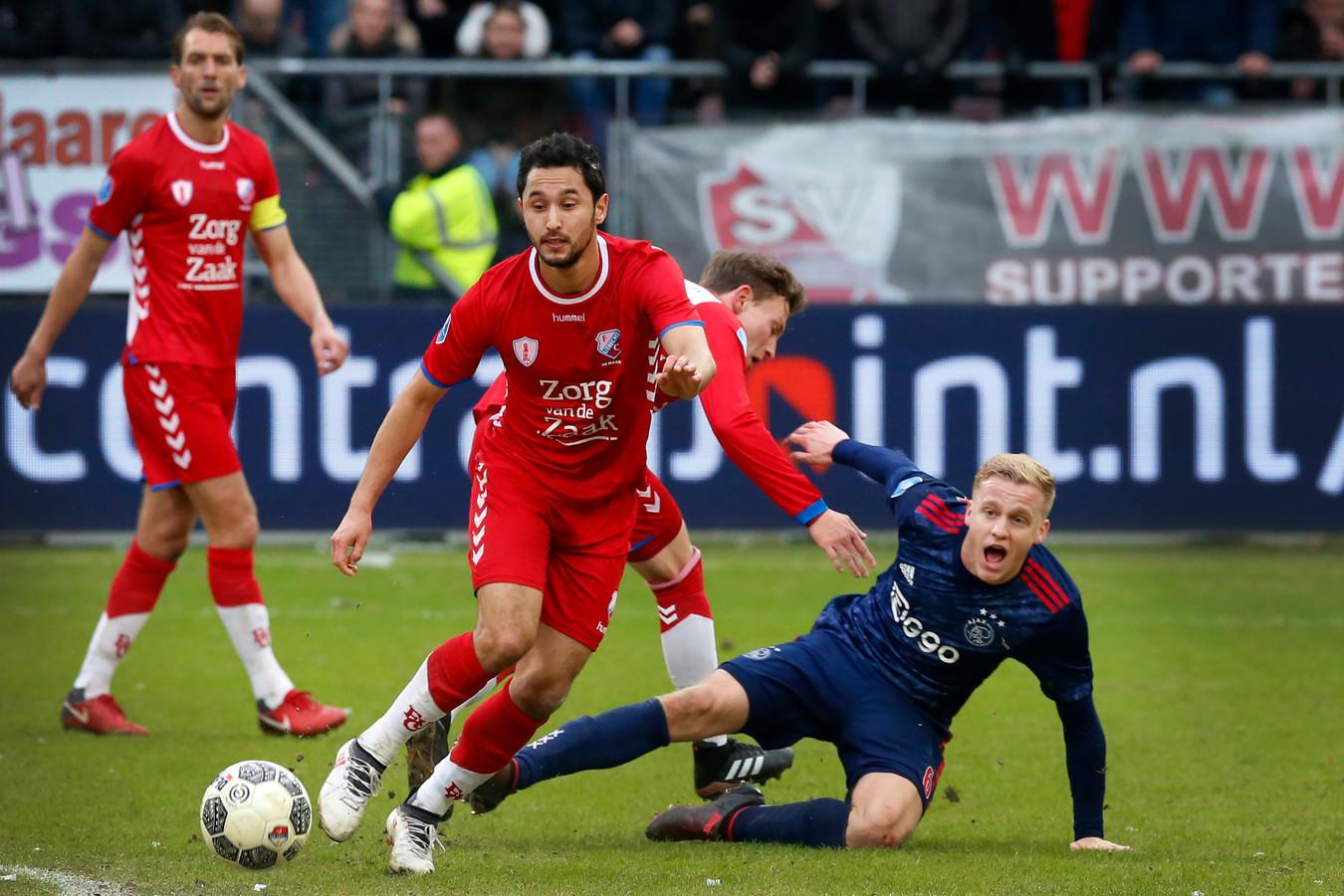 Mark van der Maarel (links) in actie in het thuisduel met Ajax.