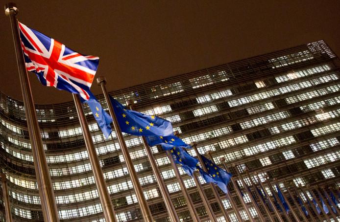 Symbolisch vlagvertoon in Brussel.