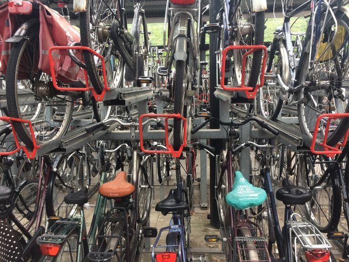 De fietsenstalling bij het NS-station in Zaltbommel. Niet iedereen kan met de bovenrekken overweg. Maar onderin is vaak geen plek.