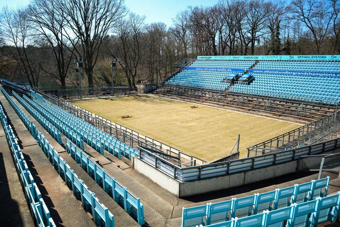 Triest beeld: het Steffi Graf-Stadion in Berlijn ligt er deze maand verlaten bij.