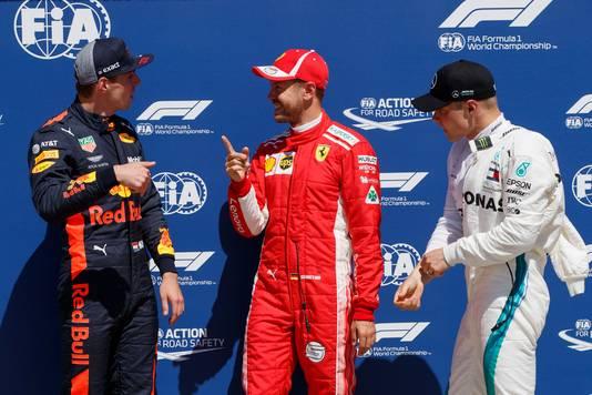 Verstappen, Vettel en Bottas.