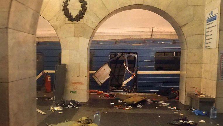 Het metrostel waarin de bom was verstopt. Beeld AFP