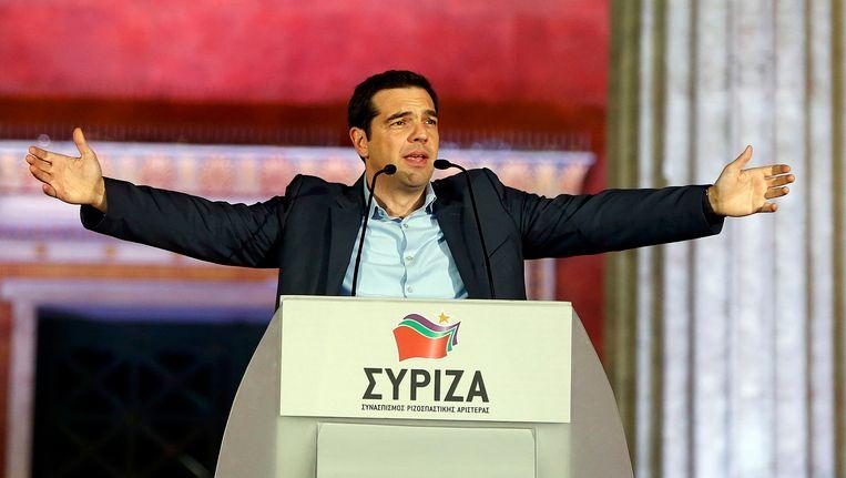 Alexis Tsipras vanavond in Athene. Beeld reuters