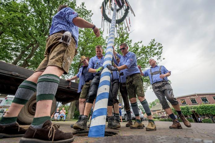 Geheel in stijl gekleed zetten de mannen van het Hill Billy Schützenfeldfest de meiboom op in het centrum van Lonneker.