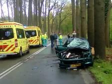 Auto in brand door botsing tegen boom in Barneveld