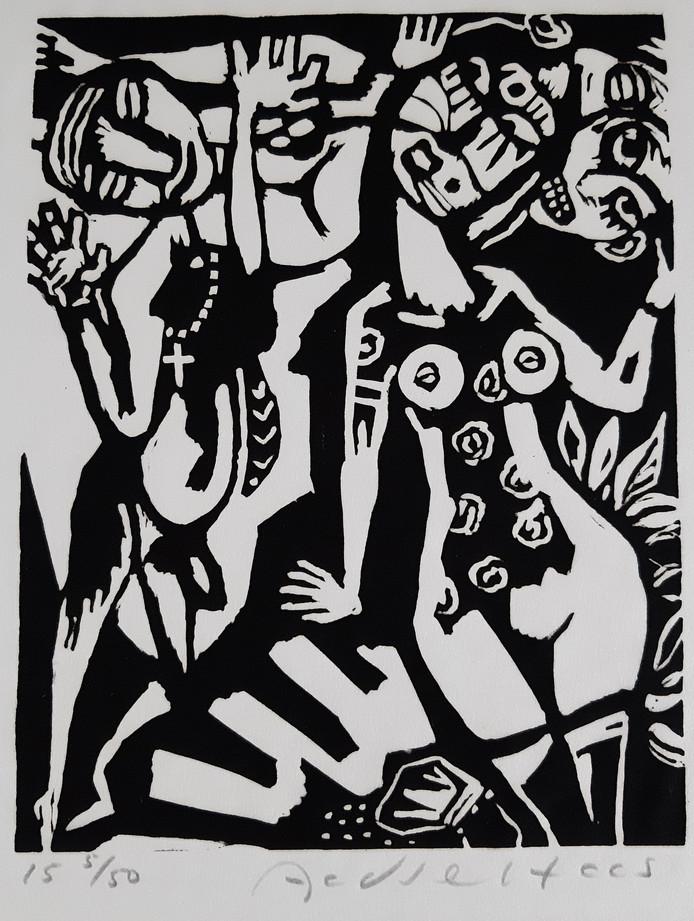 Linosnede van kunstenaar Aad de Haas, onderdeel van de expositie in Oirschot.