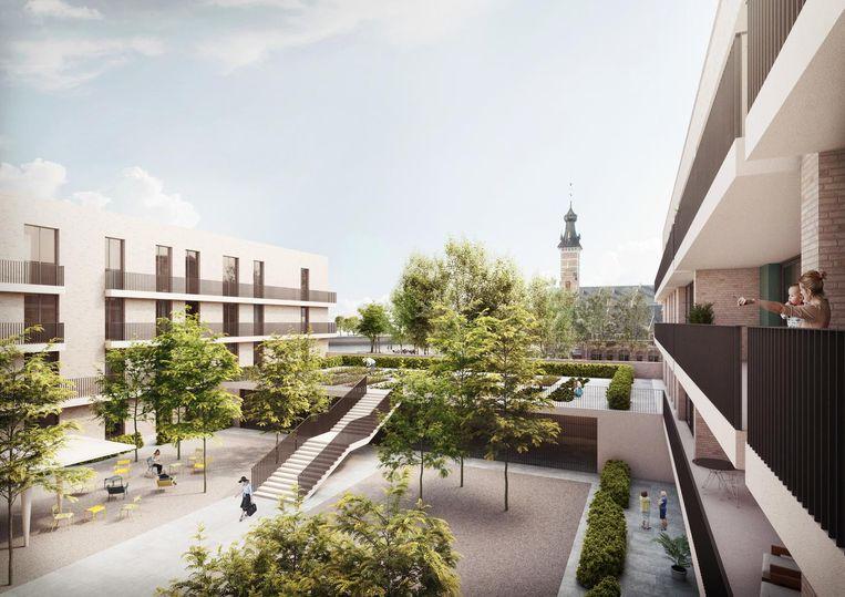 De toekomstige appartementen op het Rode Kruisplein.