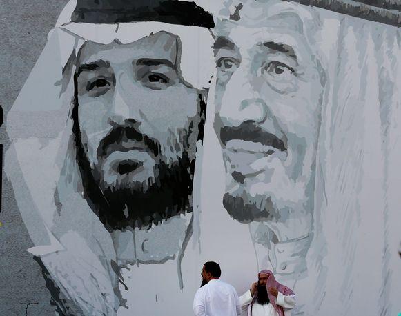 Graffiti-afbeelding van de Saudische kroonprins Mohammad Bin Salman en zijn vader.