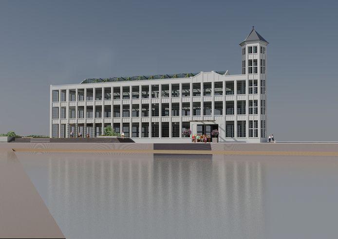 Impressie van de Timmerfabriek in Vlissingen als hotel. Mét herbouwd torentje.