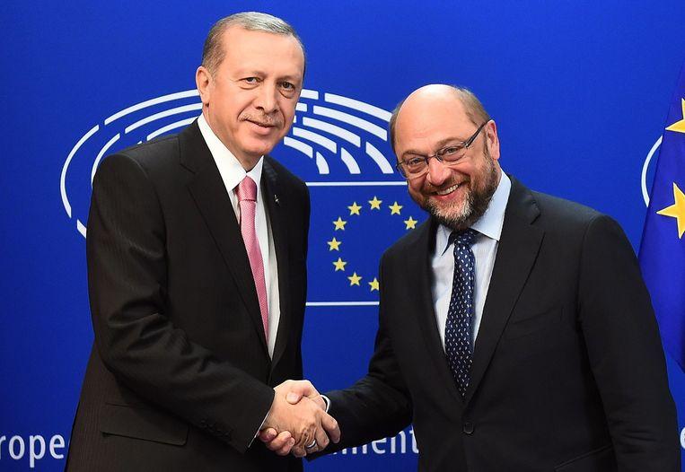 President Erdogan met president van het Europese Parlement Martin Schulz. Beeld afp
