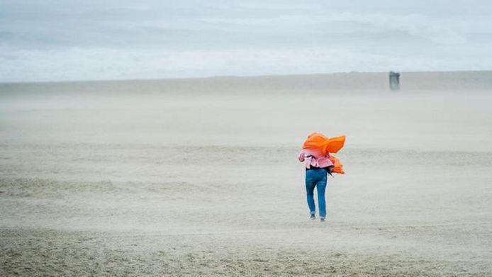 Een wandelaar trotseert de harde wind op het strand van Scheveningen.