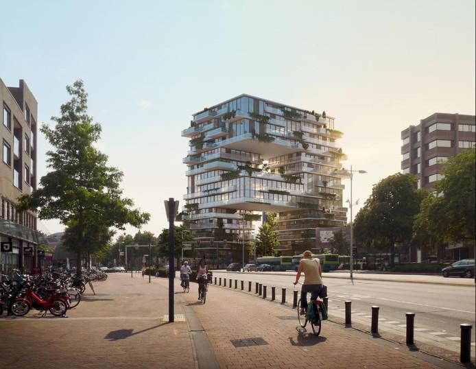 Het eerste ontwerp voor The Spot oogstte bewondering, maar het gebouw zal er nooit komen.