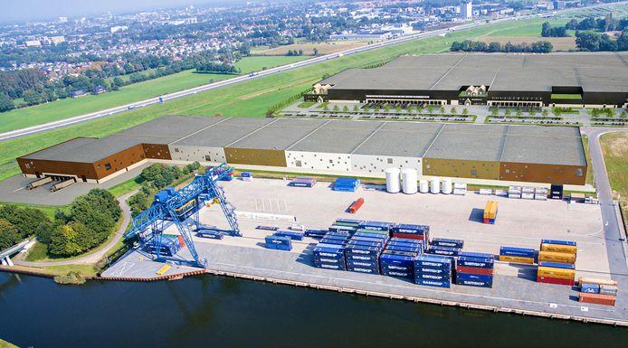 Dit wordt de nieuwe Waterside Campus waarin de E. van Wijk Group onderdak krijgt. Op de voorgrond de bestaande containerterminal.