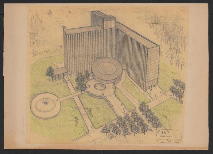 Een van de ontwerptekeningen van Renaat Braem.