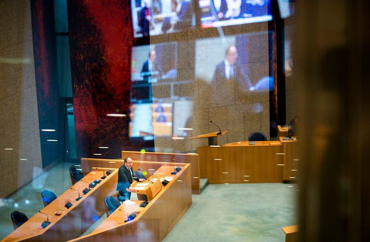 Minister Wouter Koolmees van Sociale Zaken en Werkgelegenheid (D66)  tijdens het pensioendebat in de Tweede Kamer.  Beeld Freek van den Bergh / de Volkskrant
