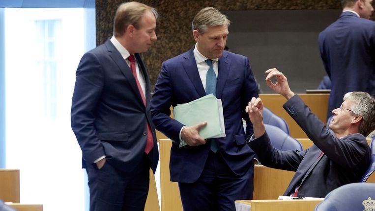 Fractievoorzitters Van der Staaij (SGP), Buma (CDA) en Slob (ChristenUnie) in de Tweede Kamer Beeld anp
