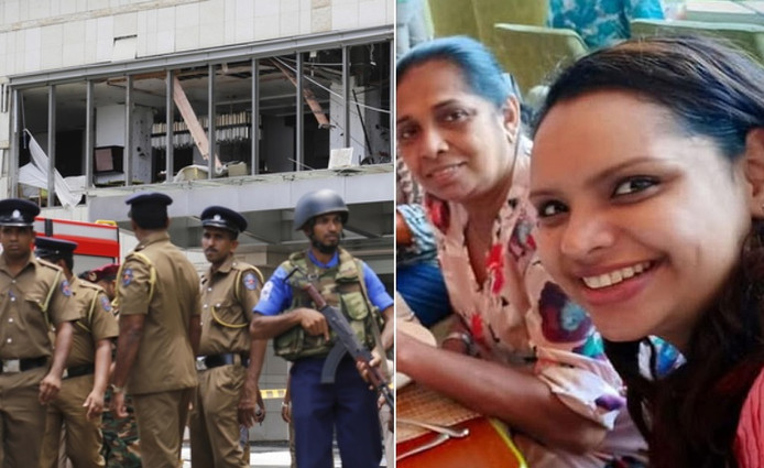 Politiemensen aan het Shangri-La Hotel  in Colombo na de aanslag. Rechts slachtoffers Shantha Mayadunne en haar dochter Nisanga.