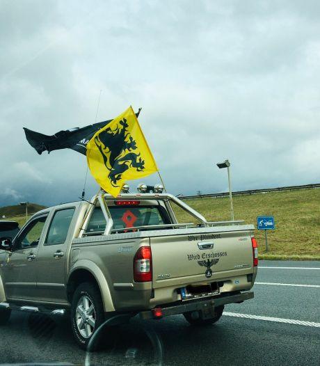 Pick-up met adelaar, nazisymbool en Duitse oorlogskreet zorgt voor ophef in België