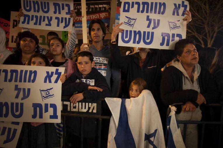 Duizenden Israëliërs deden mee aan een protestmars tegen religieus fanatisme in Beit Shemesh. Beeld afp