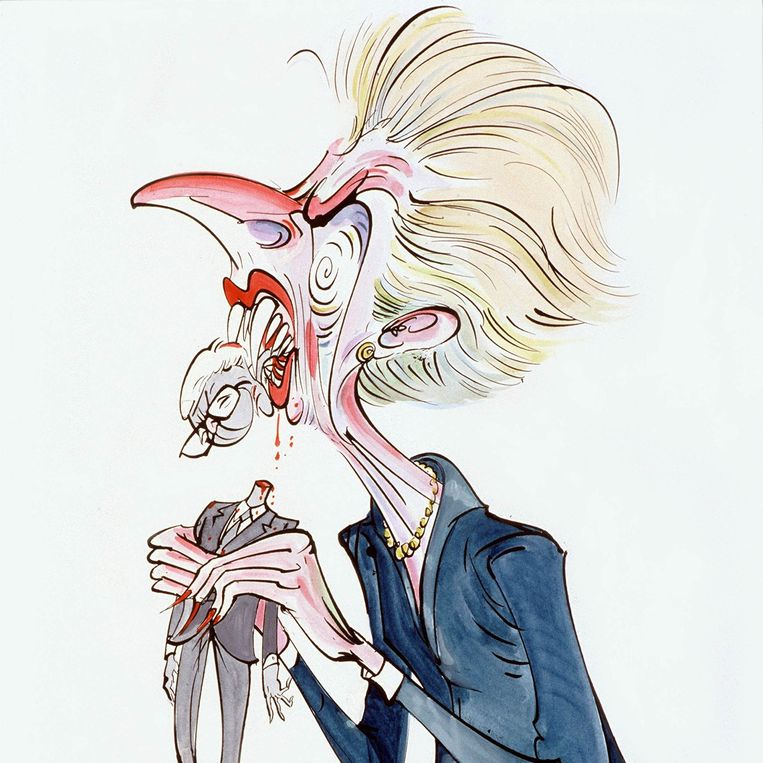 Thatcher eating Major, door Gerald Scarfe. Beeld Gerald Scarfe