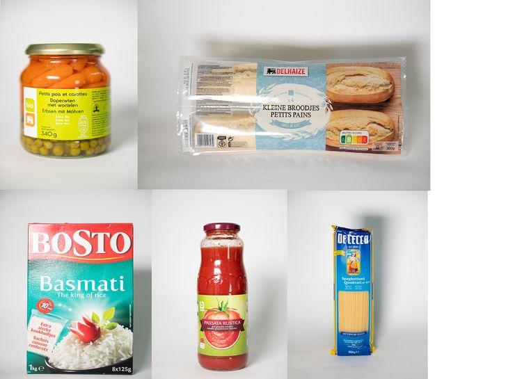 Een excellente score voor deze producten: Bio wortelen en erwtjes Delhaize, Afbakbroodjes Delhaize, Bosto Basmatirijst, Passata Rustica van Boni en De Cecco Spaghettoni.