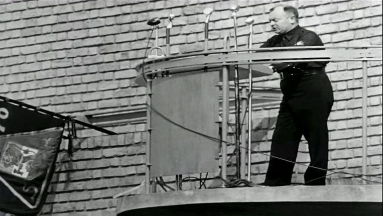 Anton Mussert spreekt een menigte toe tijdens de landdag van de NSB in Lunteren - niet een fragment uit het verwijderde archief in kwestie.  Beeld NIOD