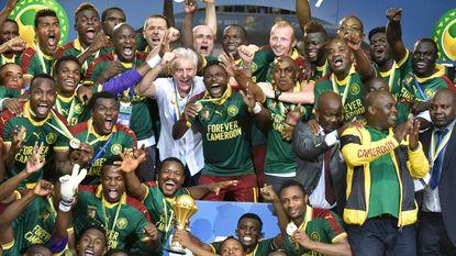 Broos en zijn 'Ontembare Leeuwen' ontvangen door Kameroense president