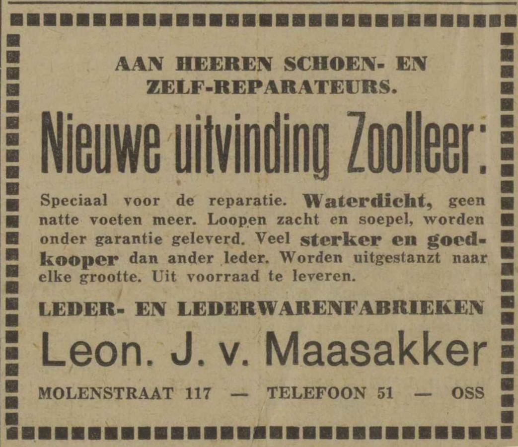 Advertentie van leerfabriek Van Maasakker uit 1933 voor een nieuw soort zoolleer.