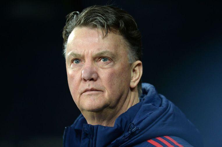 Louis van Gaal speelt met Manchester United tegen het Deense FC Midtjylland. Beeld afp