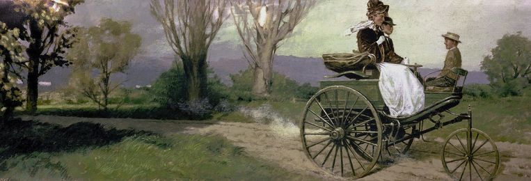 Bertha Benz trok veel bekijks toen ze ruim honderd kilometer aflegde op een van de eerste auto's. Beeld rv