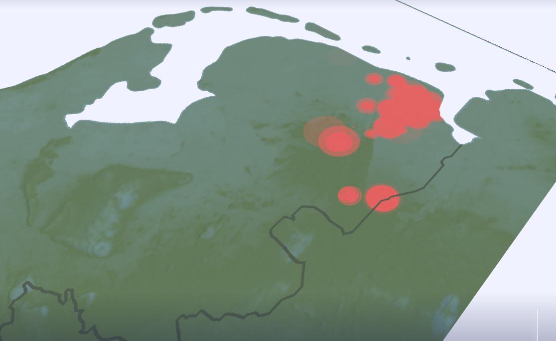 Bevingen in Groningen op kaart. Data: KNMI