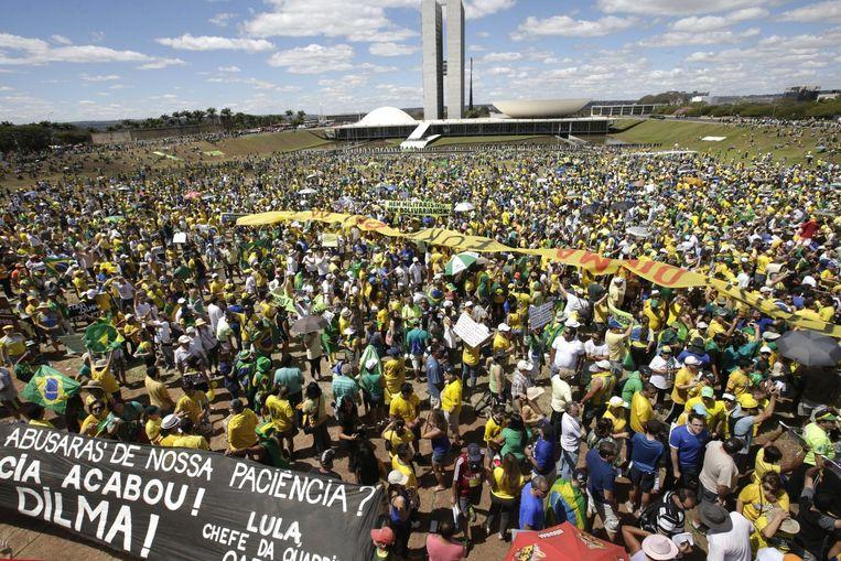 Demonstranten in Brasilia. Beeld epa