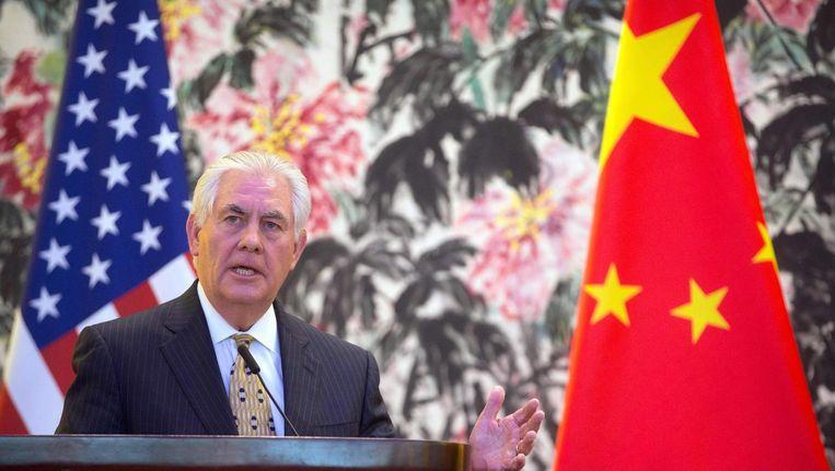 De Amerikaanse minister van Buitenlandse Zaken Rex Tillerson, hier tijdens een bezoek aan Beijing op 18 maart, liet eerder weten dat het afgelopen is met het 'strategische geduld' van de Verenigde Staten met Noord-Korea. Beeld afp