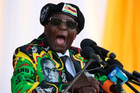 President Mugabe tijdens een speech.