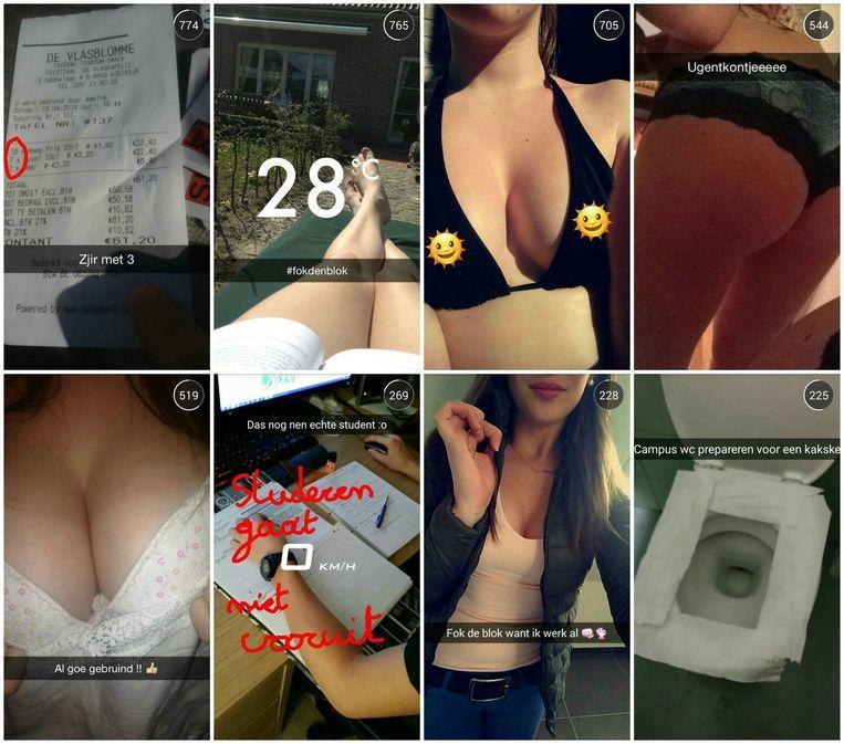 Een selectie van de foto's die verschenen op de Snapchataccount 'Gentstudent'. Tussen de toilethumor ook veel seksueel getinte posts.