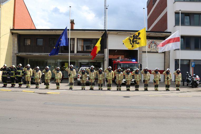 In Dendermonde werd een laatste groet gebracht aan de overleden brandweermannen.