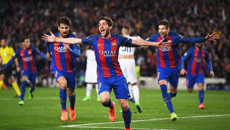 Sergi Roberto viert de winnende goal. Beeld null