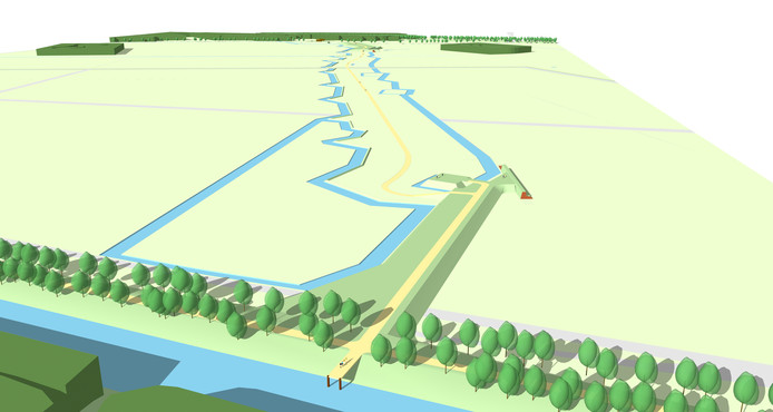 Een ontwerp voor het terugbrengen van een deel van de Hollandse Dijk nabij Kamp Vught. Zo wordt een deel van de Linie 1629 weer zichtbaar.